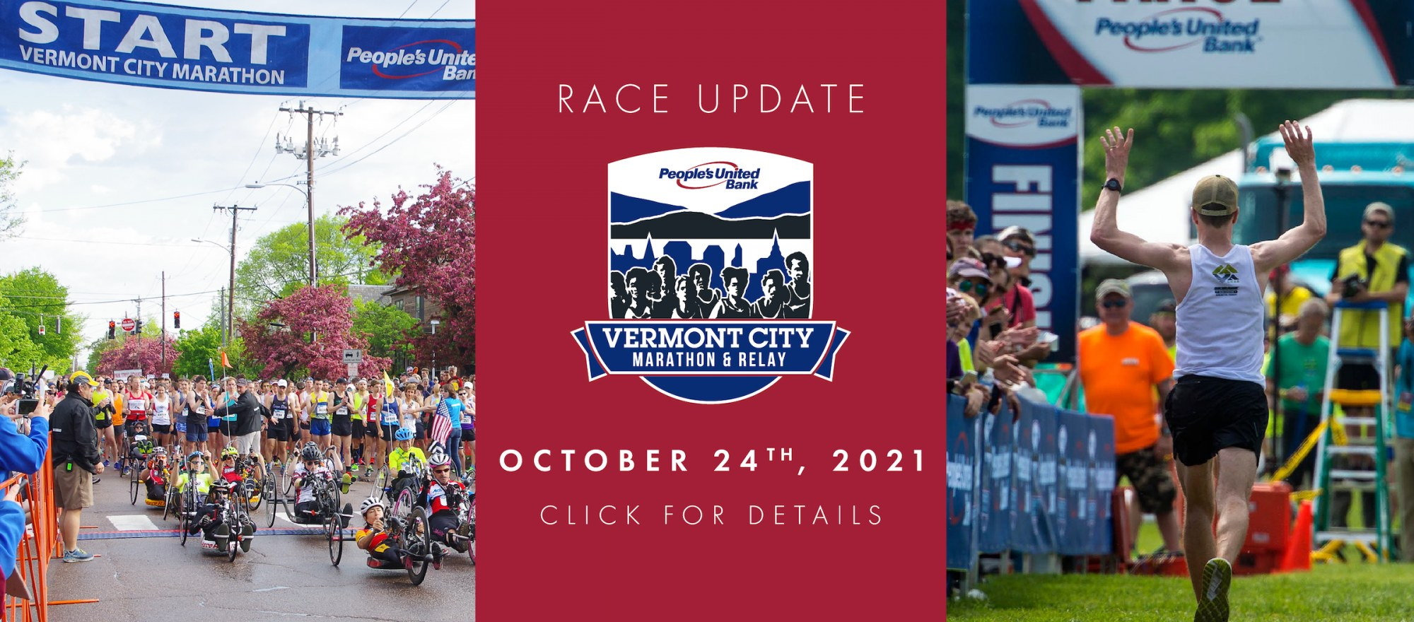 Image of a runner approaching the finish line with the People's United Bank Vermont City Marathon & Relay logo and new date of October 24th, 2021.